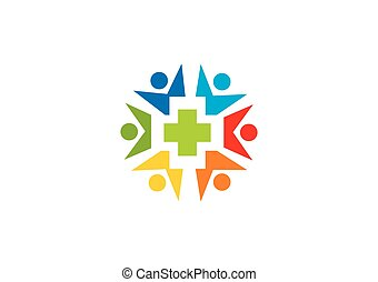 pessoas, medic, vetorial, saúde, logotipo, círculo