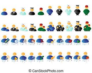 pessoas, multicolored, ícones