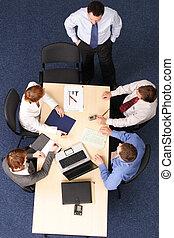 pessoas negócio, -, cinco, brainstorming, reunião