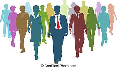 pessoas negócio, diverso, human, líder equipe, recursos