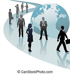 pessoas negócio, futuro, progresso, mundo, caminho
