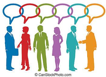 pessoas negócio, mídia, fala, social, bolha, conversa