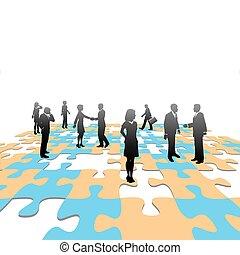pessoas negócio, quebra-cabeça, jigsaw, solução, pedaços, equipe
