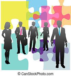 pessoas negócio, quebra-cabeça, solução, human, problema, recursos