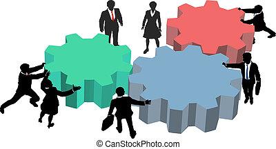 pessoas negócio, trabalho, junto, plano, tecnologia