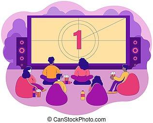 pessoas, observando filme, grupo, diverso