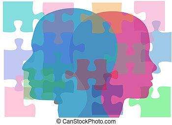pessoas, par, problemas, solução, femininas, macho, quebra-cabeça