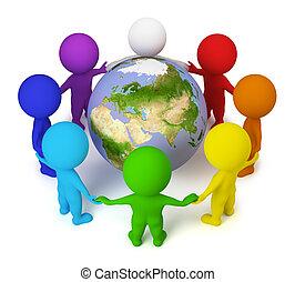 pessoas, paz, -, pequeno, terra, 3d
