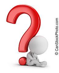 pessoas, pergunta, -, pondering, pequeno, 3d