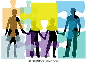 pessoas, quebra-cabeça, problema, aconselhar, família, solução