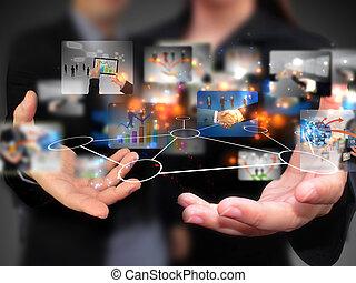 pessoas, segurando, mídia, social, negócio