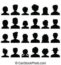 pessoas, silueta, ícone