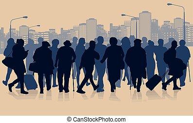 pessoas, silueta, cidade, paisagem, torcida, enorme