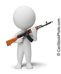 pessoas, -, soldado, pequeno, ak74, 3d