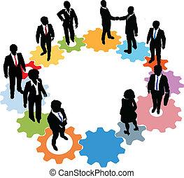 pessoas, tecnologia, engrenagens, equipe negócio