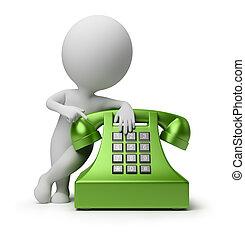pessoas, -, telefonema, pequeno, 3d