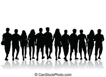 pessoas, torcida, silhuetas, -, vetorial