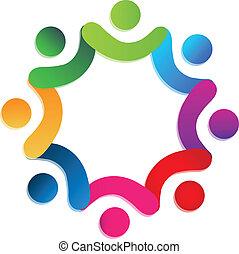 pessoas, trabalho equipe, caridade, logotipo, vetorial