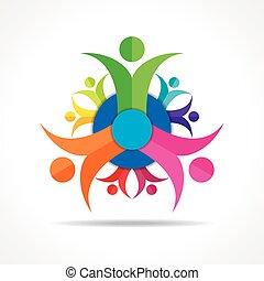 pessoas, trabalho equipe, -, grupo, conceito
