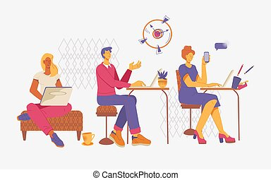 pessoas, vetorial, workspace, abertos, centro, ou, apartamento, illustration., escritório, coworking
