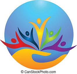 pessoas, vida, feliz, logotipo, protegendo