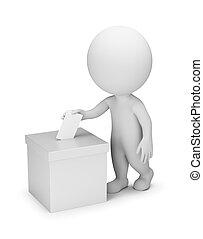 pessoas, votando, -, 3d, pequeno