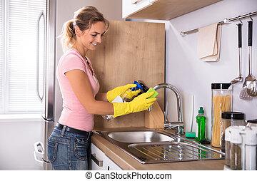 pia, mulher, torneira, limpeza, cozinha