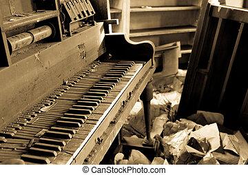 piano, sujo, trashed, mobília