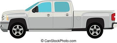 pick-up, isolado, ilustração, vetorial, caminhão, branca