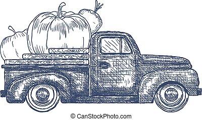 pick-up, legumes, caminhão velho, retro