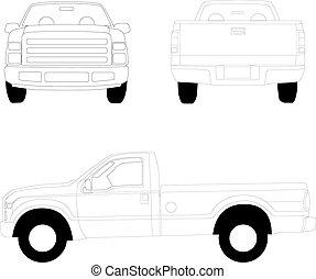pick-up, linha, caminhão, ilustração
