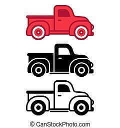 pickup, jogo, caminhão, clássicas