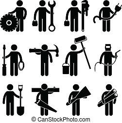 pictog, trabalho, trabalhador construção, ícone