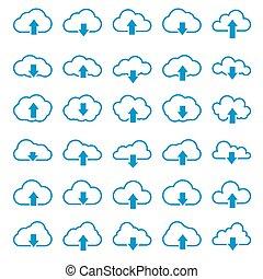 pictograma, esboço, ícones, jogo, ilustração, vetorial, linha, nuvem, linear