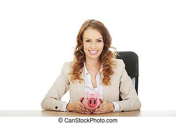 piggybank., negócio mulher
