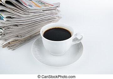 pilha, close-up, café, jornais, copo