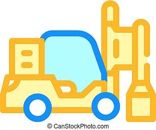 pilha, cor isolada, motorista, ilustração, vetorial, ícone