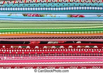 pilha, fundo, coloridos, algodão, têxtil