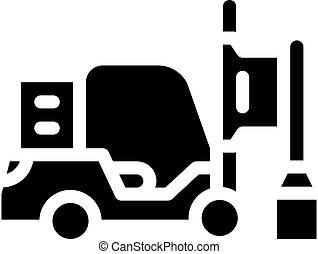 pilha, isolado, motorista, ícone, vetorial, glyph, ilustração