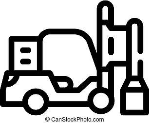 pilha, isolado, motorista, linha, ilustração, vetorial, ícone