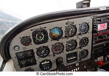 pilot's, instrumento, complexo, avião pequeno, vista, painel