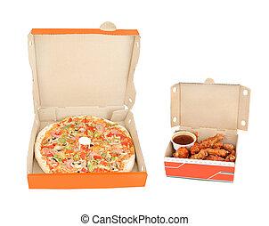 pimenta, galinha, presunto, mergulho, asas, pizza