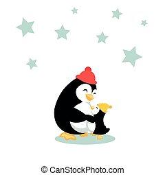 pingüim, caricatura, dela, bebê, mãe, abraços, pequeno