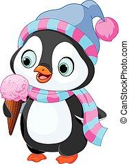 pingüim, come, sorvete