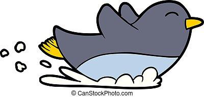 pingüim, deslizamento, caricatura