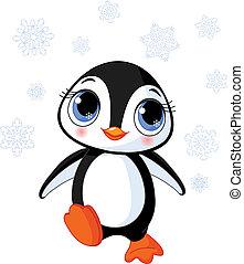 pingüim, inverno, cute