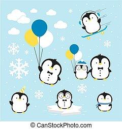 pingüins, vetorial, cute