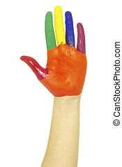 pintado, mão
