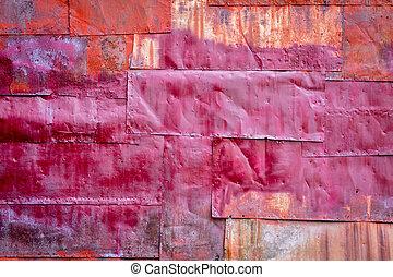 pintado, metal enferrujado, experiência vermelha
