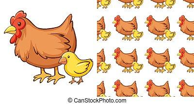 pintinho, fundo, desenho, galinha, seamless